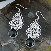 Lacy Filagree Sterling Silver and Hand Set Polished Onyx Cabochon Earrings