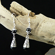 Very Pretty Sterling Silver Wrapped Onyx Earrings