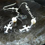 Very Pretty and Long Sterling Silver Cross Earrings With Pearls