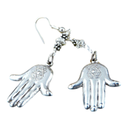 Hamsa Sterling Silver Dangle With Sterling  French Earwire Earrings