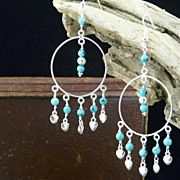 Big Hoops and Hearts--Sterling Silver and Turquoise Earrings