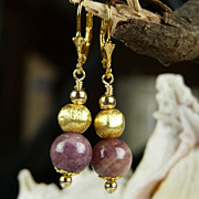 Lovely Pink Tourmaline and 14Kt Gold- Filled and Vermeil Beaded  Earrings