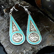 Very Sexy 4 Inch Long Turquoise, Sterling Silver and Hand Chased Silver/Mixed Metal Earrings