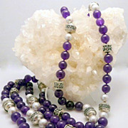 Deep Polished Amethyst,  Grey Cultured Pearl and Sterling Silver Necklace