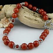 Stunning and New-- Faceted Carnelian and Sterling Silver Choker