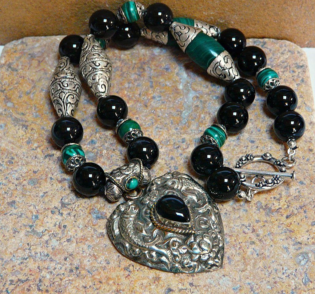 Stunning Malachite,  Onyx and Sterling Silver Necklace with Heart Pendant