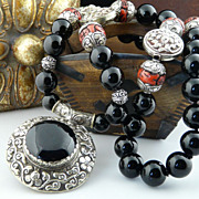 Asian, Unisex, Magnificent Polished Onyx, Sterling Silver Wrapped Coral and Silver Coin Pendan