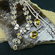 Gentle and Graceful- Handmade Citrine Leaf and Sterling Silver Necklace