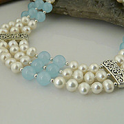 Elegant and Flowing-Triple Strand Aquamarine, Cultured Pearl and Sterling Silver Necklace
