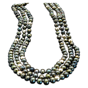 Pretty and Unusually Colored Peacock Pearl and Gold-Filled Bead Necklace
