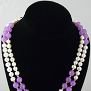 Classic and Beautiful Lavender Jade, Cultured Pearl and Solid 14Kt Gold Beaded Rope Necklace