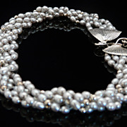 Dainty and Beautiful Pearl and Sterling Silver Bead Choker With Artistic Handmade Clasp