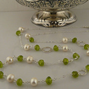 Handmade Beautiful and Serene Peridot Nugget, Pearl, and Sterling Silver Necklace