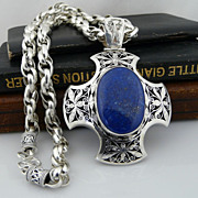 Unisex Heavy Sterling Silver Necklace With Dramatic Lapis and Sterling Silver Cross Pendant