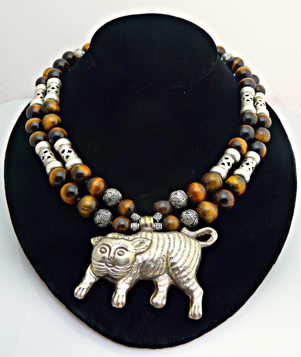 Adorable-Tiger Eye and Sterling Silver Necklace with Tiger Pendant