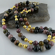 A Grand Double Strand of Beautiful Old Mixed Tourmaline with Gold-Filled and Vermeil Accents