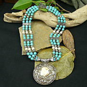 Triple Strand Turquoise, Sterling Silver and Conch Necklace with Pendant
