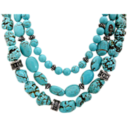Lovely Triple Strand Turquoise and Sterling Silver Necklace
