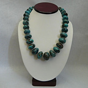 Beautiful Graduated Chinese Turquoise and Sterling Silver Necklace