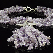 Amethyst Nugget, Sterling Silver and Starfish Pendant Necklace