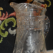 SALE Crystal Cut Glass Pitcher in Daisy Pattern