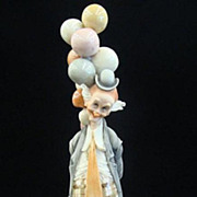 "SOLD Giuseppi Armani 1980 Large Clown Figurine Titled ""The Pensive Clown"" with Ballo"