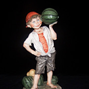1970's Rare Giuseppe Armani Figurine &quot;Boy Selling Watermelons&quot; #3552C Mint