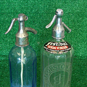 Two Vintage Glass Soda & Seltzer Siphon Bottles