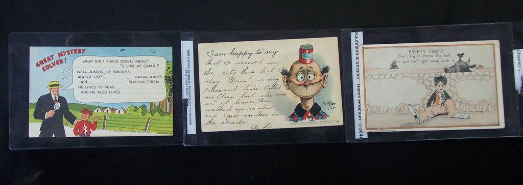 Vintage Post Cards Charlie Chaplin, Dick Tracey, and Happy Hooligan