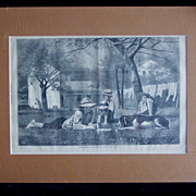 "Winslow Homer 1873 Antique Wood Engraving ""THE NOONING"" Harper's Weekly 1873"