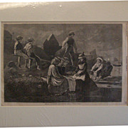 "Winslow Homer 1874 Antique Engraving ""SEESAW--GLOUCESTER, MASSACHUSETTS"" Harper's We"
