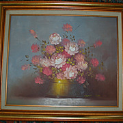 Beautiful Robert Cox &quot;Roses&quot; Vintage Original Oil Painting Still Life