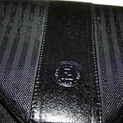 SOLD Gorgeous! Vintage Fendi Black Leather Stripe Envelope Clutch with Detachable Shoulder Str