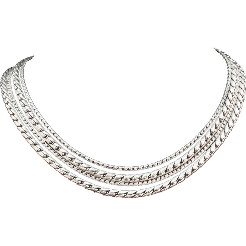 Vintage VOGUE Exceptional Silver Tone Multi-Textured Necklace