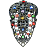Sensational Brass Filigree Floral Rhinestone and Enamel Fur Clip