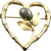 Vintage 12K Gold Filled Heart Pin With Green Jade Cabochon