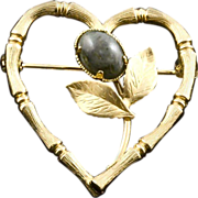 SALE Vintage 12K Gold Filled Heart Pin With Green Jade Cabochon