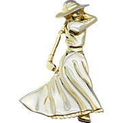 "SALE Vintage ""FORT"" Gold Tone Figural Lady Golfer Pin"