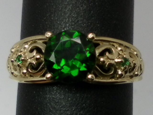 Vintage 14kt Chrome Diopside & Emerald Ring; FREE SIZING.