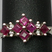 Vintage 14kt Ruby & Diamonds Ring; FREE SIZING