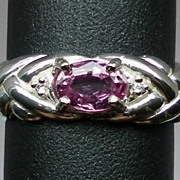 Vintage 14kt Unheated Pink Sapphire & Diamonds Ring; FREE SIZING.