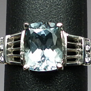 Vintage 14kt Aquamarine & Diamonds Ring; FREE SIZING
