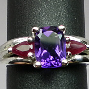 Vintage Natural Amethyst & Ruby Sterling Silver Ring; FREE SIZING.