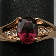 Vintage 14kt Rhodolite & Diamonds Ring; FREE SIZING.