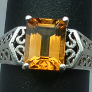 Vintage Natural Citrine Sterling Silver Ring; FREE SIZING