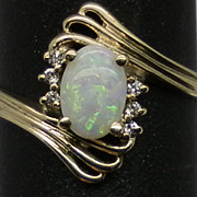 Vintage 14kt Australian Opal & Diamonds Ring; FREE SIZING