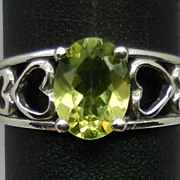 Vintage Natural Peridot Silver Ring; FREE SIZING.
