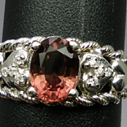Vintage 14kt  Pink Tourmaline & Diamonds Ring; FREE SIZING.