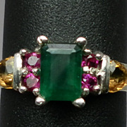 Vintage 14kt Emerald, Ruby & Citrine Ring; FREE SIZING