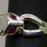 Natural  Ruby Cat Silver Ring, available in all sizes from 3 to 14